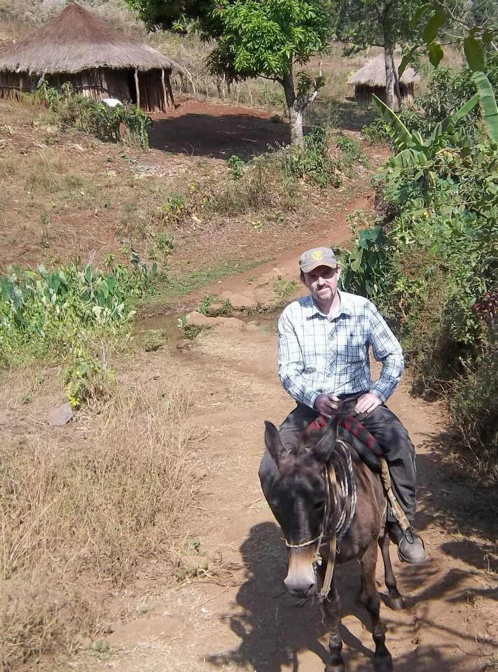 Peter commuting 3 hours to work in Ethiopia in Feb 2012